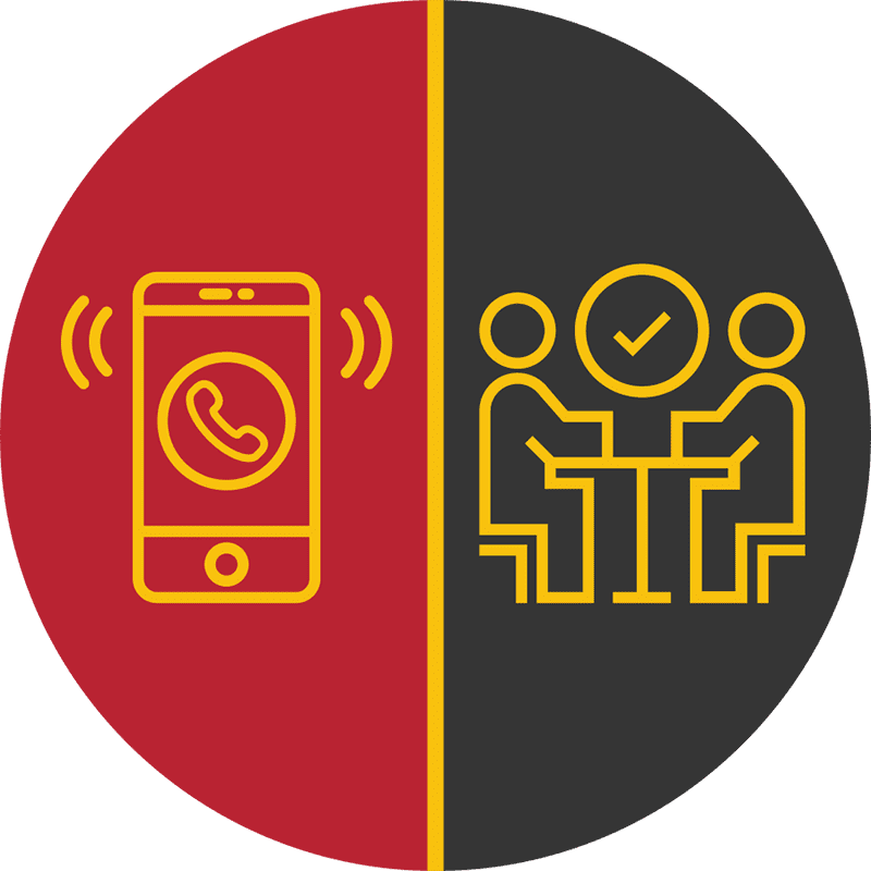 Graphic of cell phone and people talking icons
